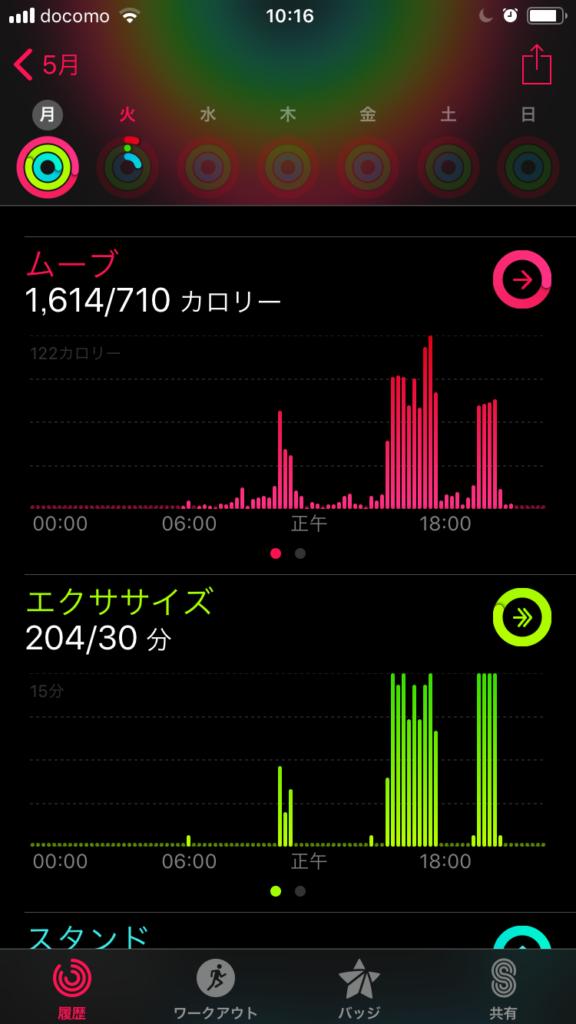 iPhoneアクティビティ画面2